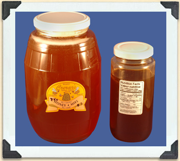 Federal regulations require that the information on these two labels appears on all honey containers.